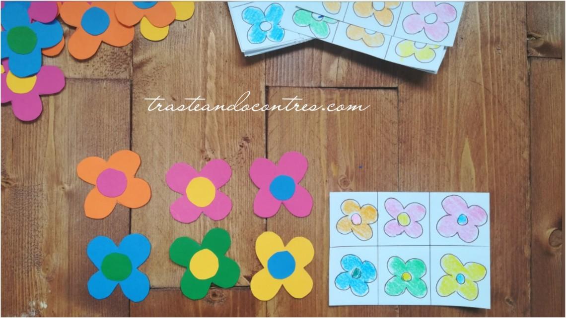 flores cartulina, juegos de atención